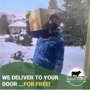Aubrey Reban delivering beef order in Saskatoon